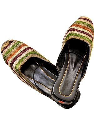 Multi-Color Embroidered Slippers from Punjab