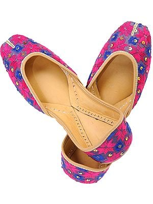 Magenta and Blue Phulkari Jooti with Embroidered Flowers and Sequins