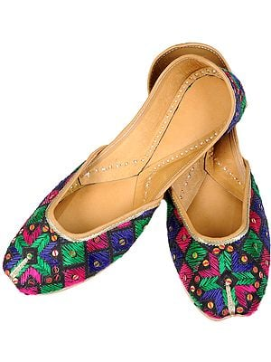 Black Phulkari Jooti from Punjab with Tri-Color Embroidery by Hand
