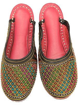 Slippers with Multi-Color Embroidered Jaal