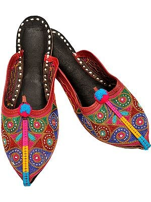 Auburn-Red Slippers with Embroidered Spirals in Multi-Color Thread