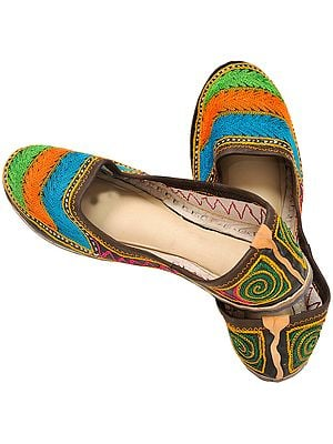 Tri-Color Ari Embroidered Jootis from Punjab