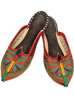 Mineral-Red Slippers with Phulkari Embroidered Flower