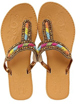 Doe-Colored Slippers with Beaded Straps