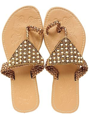 Toasted-Almond Slippers with Embroidered Beads and Faux Pearl