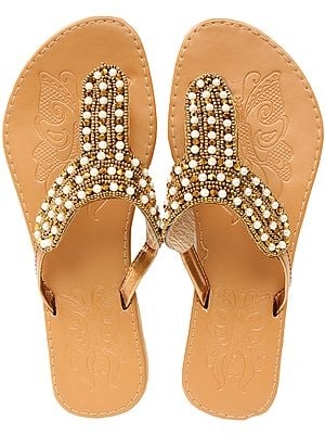 Indian-Tan Slippers with Beads-Embroidered Straps
