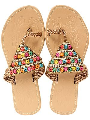 Toasted-Almond Slippers with Bead-work in Multi Color