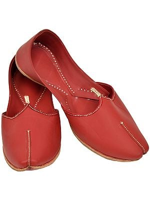Cowhide-Red Plain Mojaris for Men