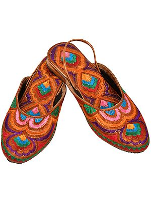 Multicolored Slip-on Sandals with Floral-Embroidery All-Over