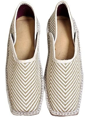 White Slip-On Matted Shoes for Men