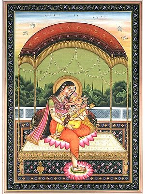 Child Ganesha in the Lap of Mother Parvati