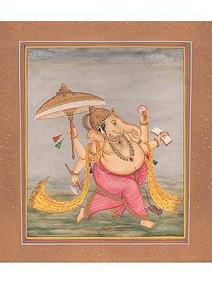 Dancing Ganesha with Umbrella