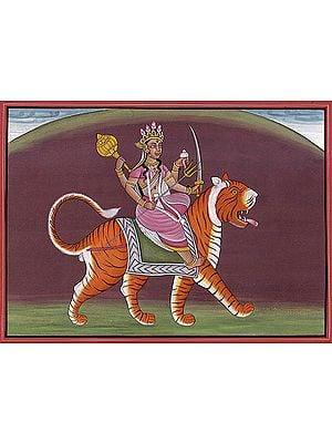 Four-Armed Goddess Durga with a Dusky Complexion