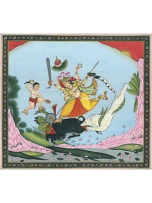 Goddess Durga and Bhairava Slay the Demon Mahishasur