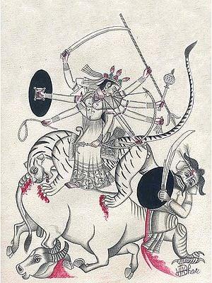 Goddess Durga Slaying the Demon Mahisha