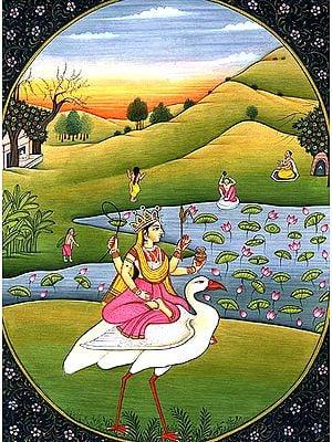 Goddess Saraswati on Her Swan