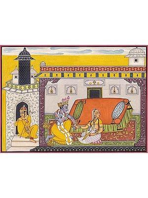 Krishna Pursuing Heroine (A Folio from Nayika-Bheda )