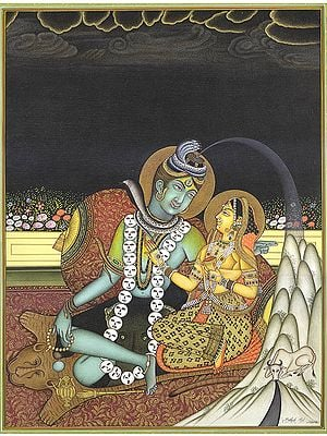 Emergence of Ganga from Shiva's Coiffure (A Fine Painting)