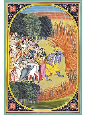 Krishna Consumes Forest Fire