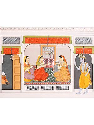 Krishna Peeps into Radha's Chamber