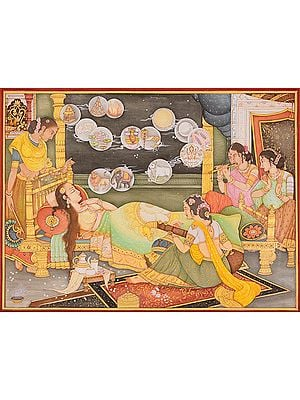 Fourteen Dreams of Trishala, the Mother of Tirthankara Mahavira (An Important Jain Painting)