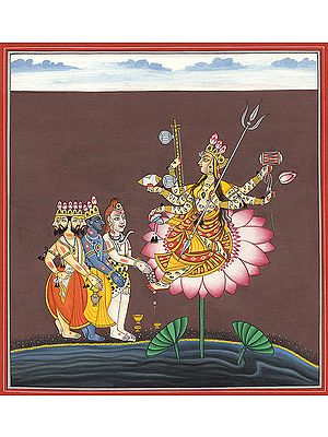 Goddess Indrakshi on a Lotus Venerated by Trinity