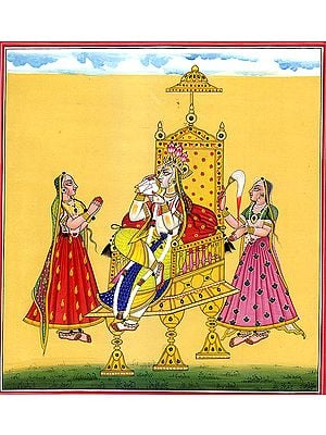 Enthroned Bhagavti, Accompanied By Her Handmaidens (Tantric Devi Series)