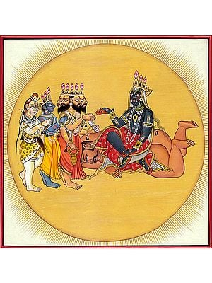 Devi Bhadrakali, The Trimurti Bowing Before Her (Tantric Devi Series)