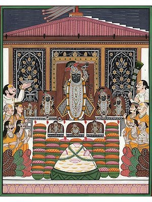 Maharana Ari Singh Paying Homage to Shrinathaji on Govardhana Puja