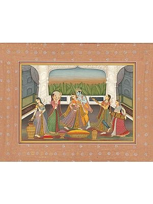 Krishna Playing Holi with Radha and Gopis