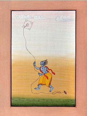 Vrindavan Cowherd Flies A Kite