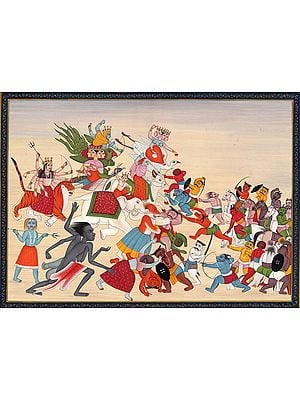 Matrikas and Mahavidyas Battling Against Demons