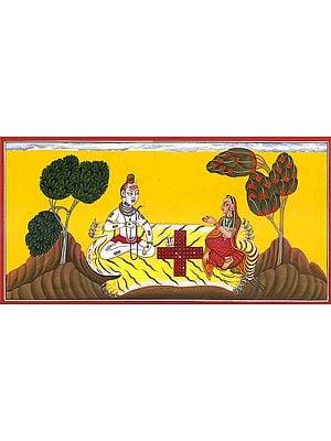Lord Shiva and Parvati Play Dice (Basholi School)