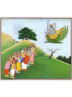 Lord Vishnu Descending to Meet Gods