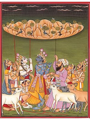 Lord Krishna Lifts Mount Govardhan