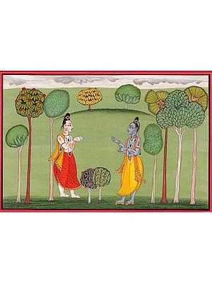 A Shaivite Saint Approaching Lord Krishna in a Grove (Basholi School)