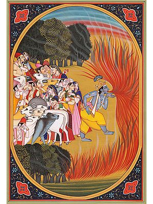 Shri Krishna Consumes Forest Fire