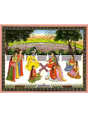 Radha and Krishna Playing the Game of Chaupara