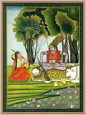 Lord Shiva in Meditative Dance with Parvati Playing Vina