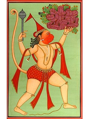 Mahabali Hanuman Carrying Mount Dron Full of Sanjeevani Herbs