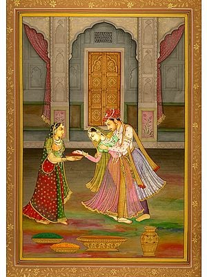 Prince Enjoying Holi with Colours and His Sweet-heart