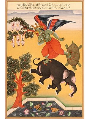 Garuda Flying Off with Tree Branch Carrying Yogis (An Episode from the Mahabharata)