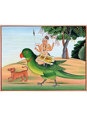 Bhairava Seated on Parrot (Vehicle of Kamadeva)