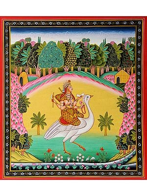 Goddess Saraswati Wearing Sari Seated on Swan