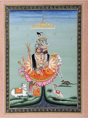 Brahma Vishnu Mahesh and Ganesha with Their Respective Mounts