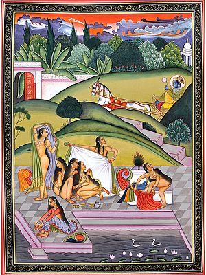 Krishna Spying on Bathing Gopis