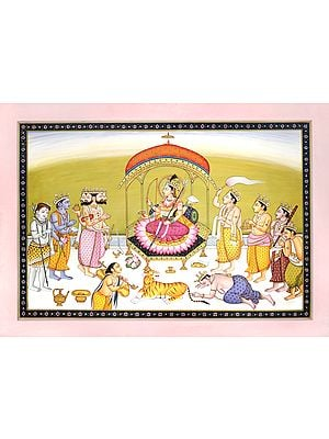 Devi Worshipped By Brahma, Vishnu and Shiva