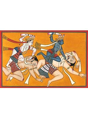 Krishna and Balarama Kill the Wrestlers with the Tusks of the Elephant Kuvalayapida