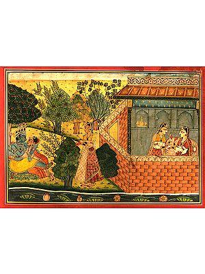 Krishna's Amorous Sports with Radha (Basholi School)