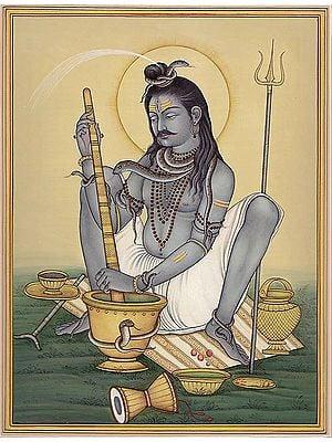 Lord Shiva Grinding Bhang